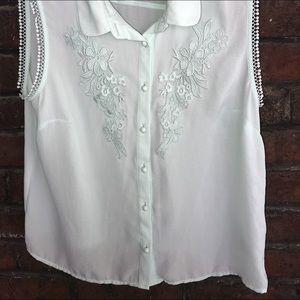 H&M's mint green sleeveless blouse